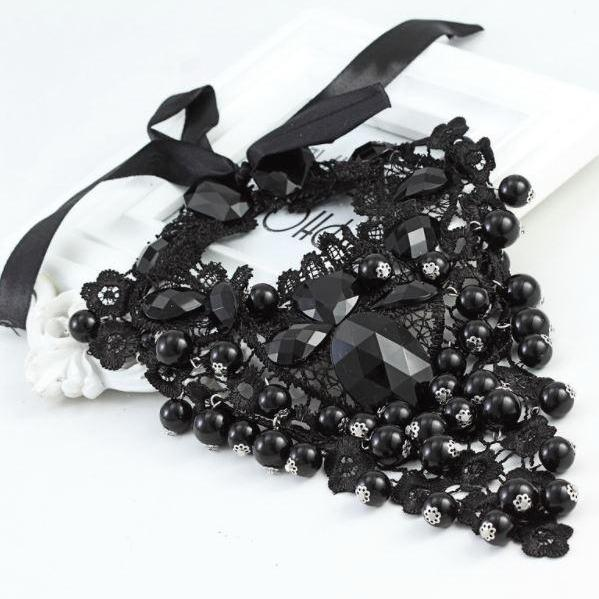 Black Collar Fake Embroidered Laced with Exaggerated Big Beads Statement Necklace for Women