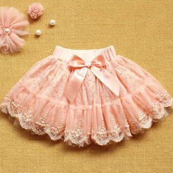 Beautiful Pink Skirts for Girls Tutu Fluffy Pearl Lace Skirts