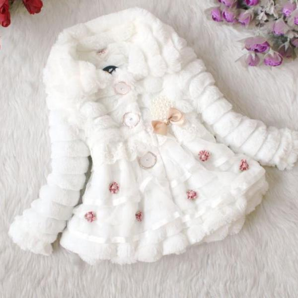 White Jacket Coat Super Soft Faux Fur Winter Coat for Girls with Buttons-SUPER SOFT WHITE JACKET