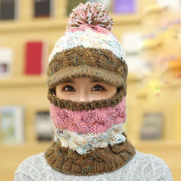 Perfect for Extreme Winter Knitted Hat with Nickerchief Scarf for Teen Girls and Women