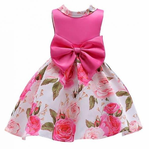 Pink Fashion Dress for 18-24 Months New Floral Dresses with Giant Bow Spring and Summer Tutu Dress Spring Wedding Outfit
