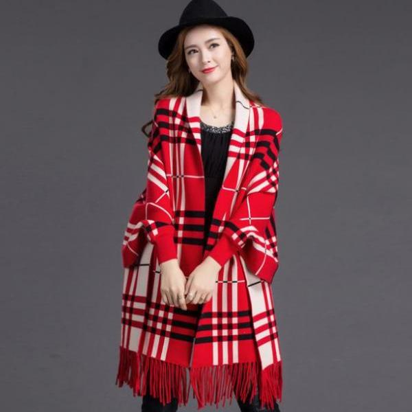 Oversize Knitted Cashmere Poncho Capes Duplex Red Shawl Red Cardigans Sweater With Tassels