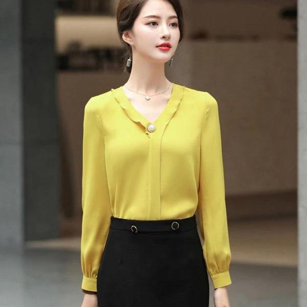 Rsslyn High-End Yellow Blouses Silky Blouses for Elegant Women-Boss Manager's Blouses