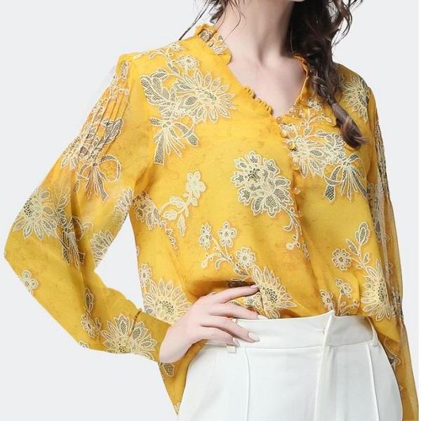 Rsslyn Luxury Yellow Blouses V-neck Loose Style Summer Tops Beautiful Vintage Blouses