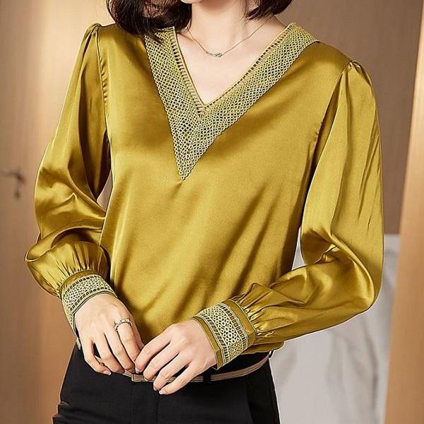 Rsslyn Golden Yellow Blouses V-neck Tops for Women Plus Size Blouses in Timeless