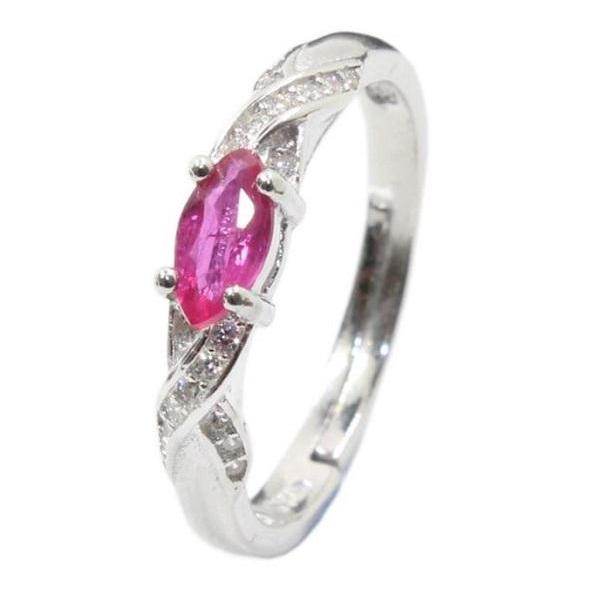 Rsslyn Real Pink Ruby Rings for Engagement Rings Promise Ring Wedding Band Minimalist Ring 0.5 ct natural Ruby Silver Ring