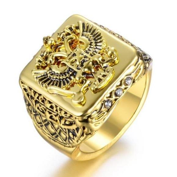 Rsslyn Men's Signet Ring Russian Empire Double Eagle Rings For Male Large Golden Rings for Men