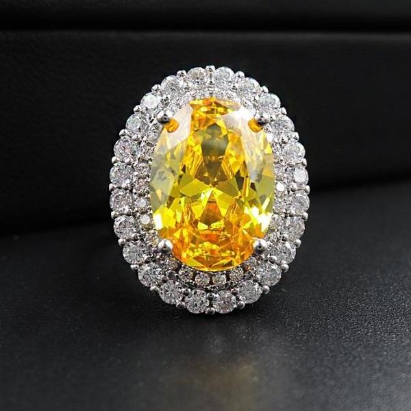 Rsslyn SALE Moissanite Citrine Gemstone Resizable Wedding Rings Promise Rings Anniversary Gift Fine Jewelry Wholesale