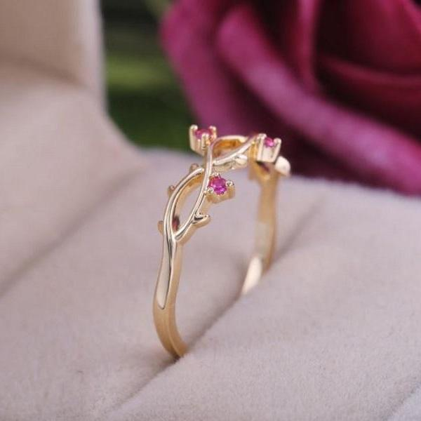 Rsslyn Pretty Pink Rings for Women Minimalist Choice of Ring Twisted Branches Design