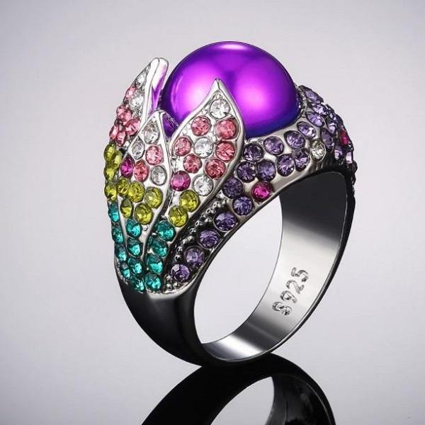 Rsslyn New Finger Silver Rings 925SS Material Fashion Violet Rings for Women's Pearl Rings RSS2262021-5