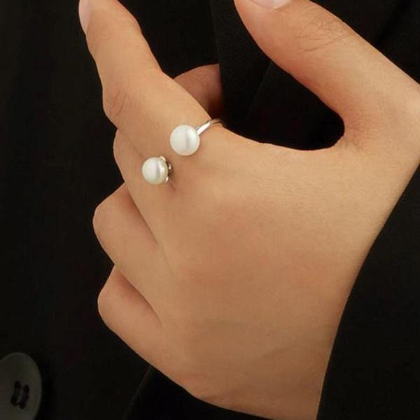 Rsslyn Another Resizable 925 Sterling Silver Rings RSS2262021-23 High-Quality Pearl Ring Non-Allergenic Rings