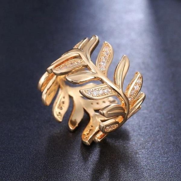 Rsslyn Golden Rings for Women Elegant Rings RSS2262021-26 New Olive Tree Branch Rings All Compatible Rings