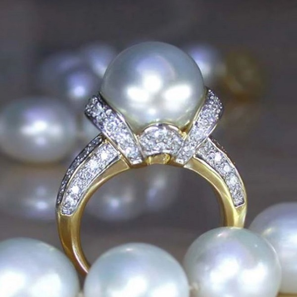 Rsslyn Wholesale Golden Promise Rings RSS10-2272021 Elegant Promise Rings with Pearl