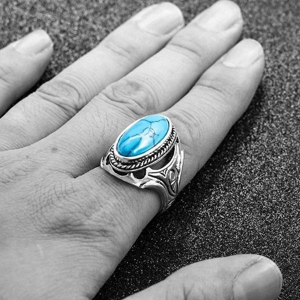 Rsslyn Turquoise Rings for Women RSS1-3012021 Wholesale Tibet Turquoises Retro Finger Ring Antique Adjustable Rings