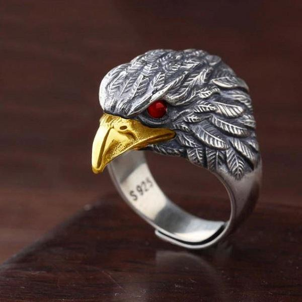 Rsslyn S925 Sterling Silver Unique Flying Eagle Knight Ring for Men RSS19-322021 Retro Stainless Steel Retro American Eagle Wings