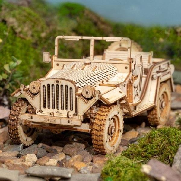 Rsslyn 3D Army Jeep Wooden Puzzle Game Assembly 369pcs Retro DIY Jeep RSS1-332021 Boys Nursery Decoration Personal Collection