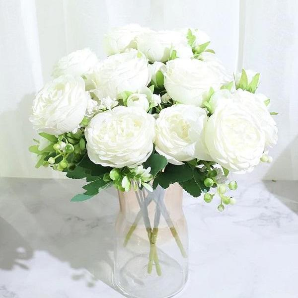 Rsslyn 5 Heads 4 Budded White Peonies Bouquet Living Room Accent RSS4-342021 Best Flower Table Wedding Decoration