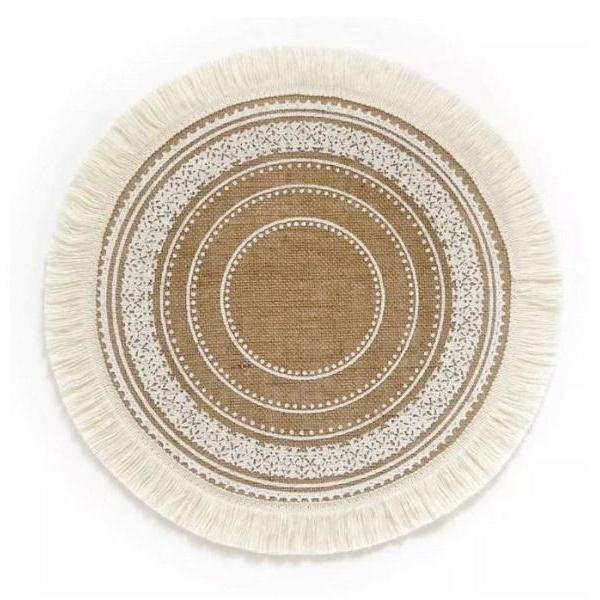 Rsslyn Round Table Cover Non-Slip Insulation Decoration RSS06-352021 Embroidered Table Placemat with Tassels