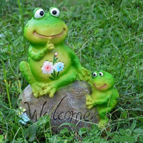 Rsslyn Welcome Frog Figurines Garden Decoration RSS17-352021 Aquarium Decoration