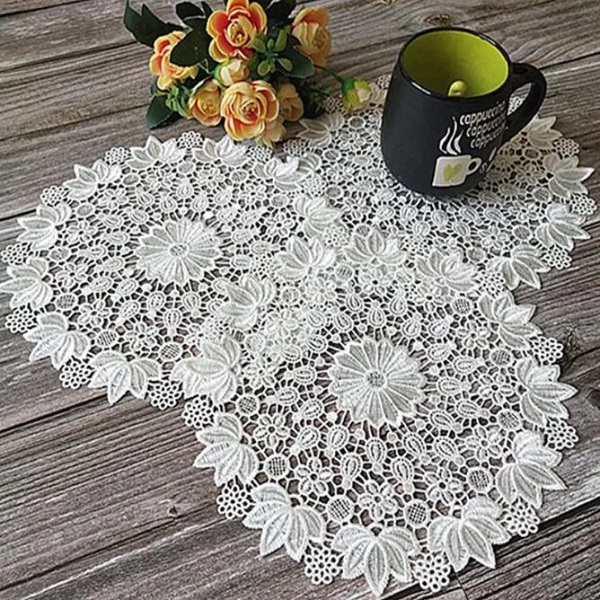 Rsslyn Embroidered Doily Lace Wedding Decoration RSS3-362021 Round Doily for a Lady