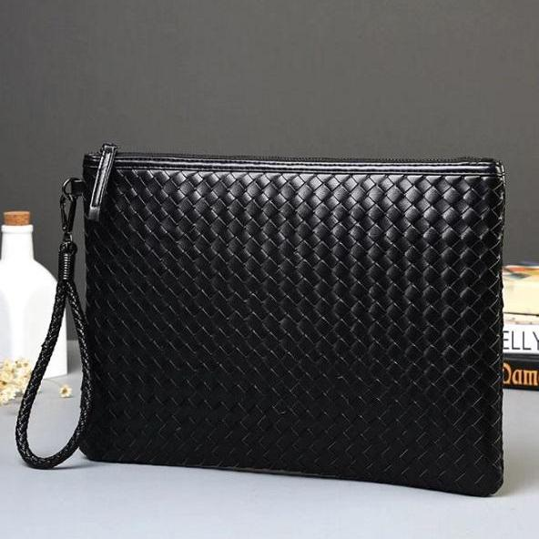 Rsslyn Men's Black Pouch RSS11-362021 Special Gift Woven Leather Bags Black Purses for Male