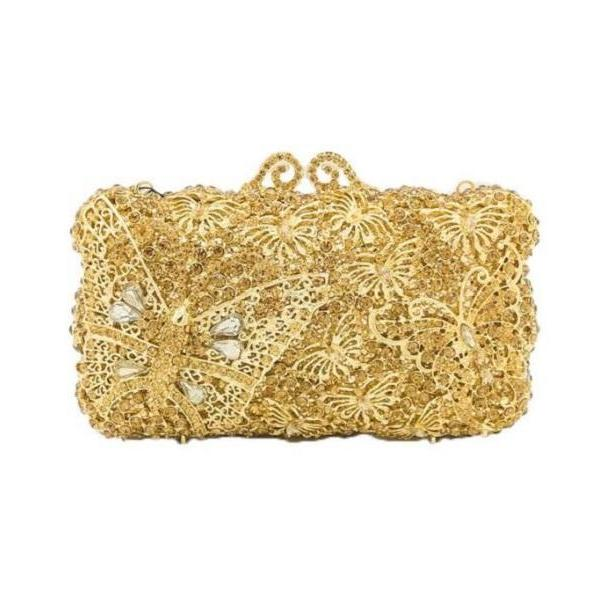 Rsslyn Luxury Golden Clutch with Hollow Butterfly Design RSS13-362021 Special Gift for Birthday Woman Free Designer Brooch