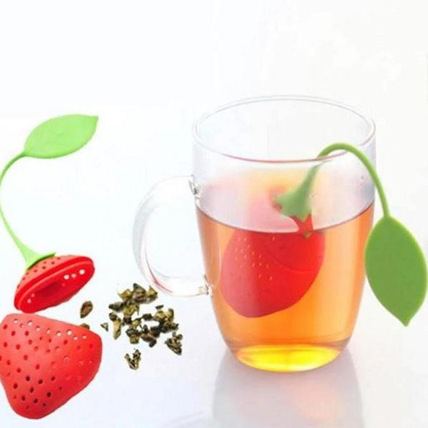 Rsslyn 2pcs/SET Cute Tea Strainer Silicone Fruit RSS17-362021 Miniature Strawberry Strainer for Tea