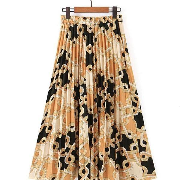 Rsslyn Pleated Skirts for Women RSS8-382021 Chain Prints Bottoms