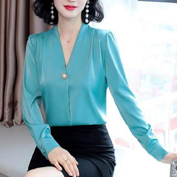 Rsslyn Blue Silk Blouses for Business Blouses for Women RSS8-382021 Blusas Senyoritas