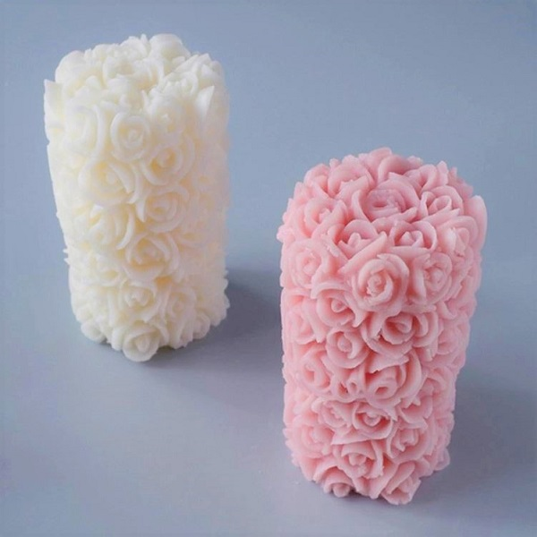 Rsslyn New Rose Candle Making Silicone Molds RSS11-382021 Cake, Soap and Candle Molds Rose Pattern