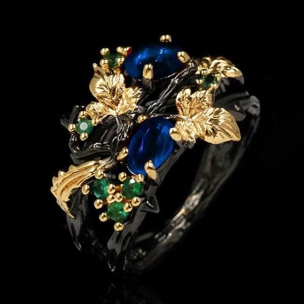 Rsslyn Black Gold Filled Rings High-Quality Sapphire Rings