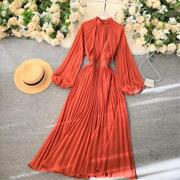 Rsslyn Orange Dresses for Women Pleated Orange Dress
