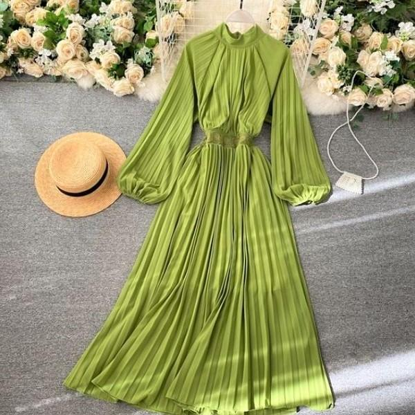 Rsslyn Green Dresses for Women Mandarin Collared Dress