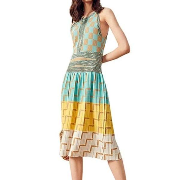 RSSLYN Medium Size Halter Dress for Women New Fashion Dresses Geometric Prints-Womens Blue Dresses