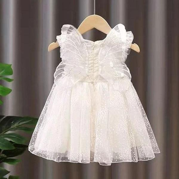 Rsslyn Trendy Props for Baby Girls Butterfly Wings Off White Dress Baptism Dress with Free Baby Headband