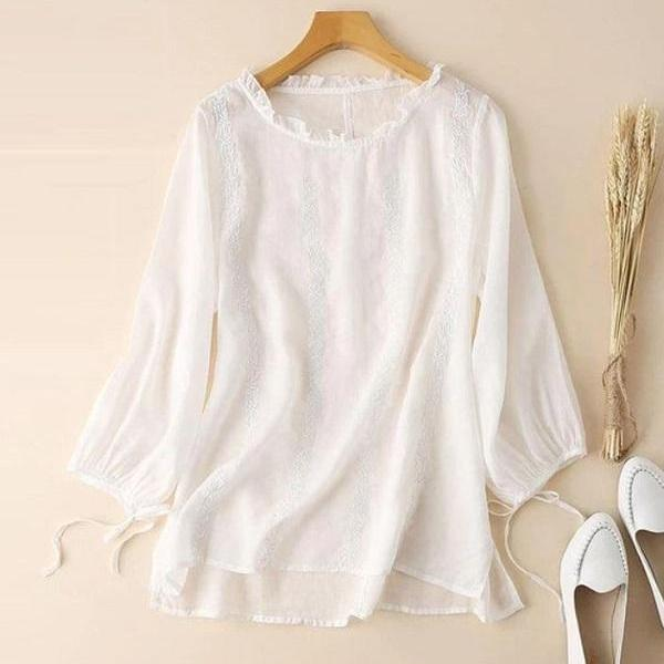 Rsslyn Embroidery White Linen Blouses