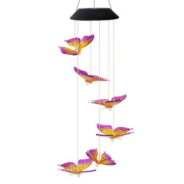 Rsslyn Solar Lights Butterfly Wind Chimes Garden Decor Waterproof