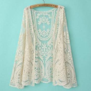 Off White Soft Lace Crochet Long Sleeve Cardigan