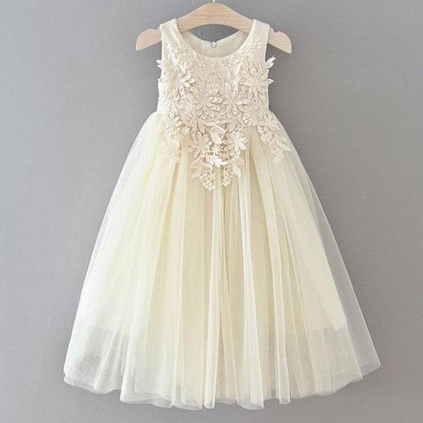 Rsslyn Free Shipping Flower Girls Ivory Dress with Lacy Bow New Sleeveless Formal Dresses