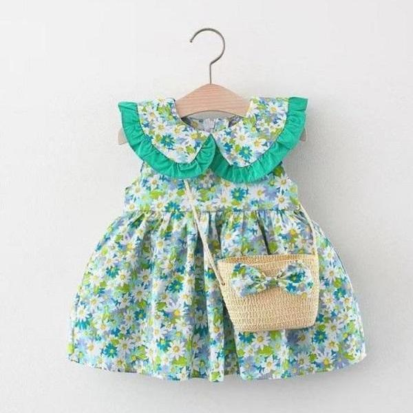 Rsslyn Cute Dresses for Baby Girls with Matching Straw Bag