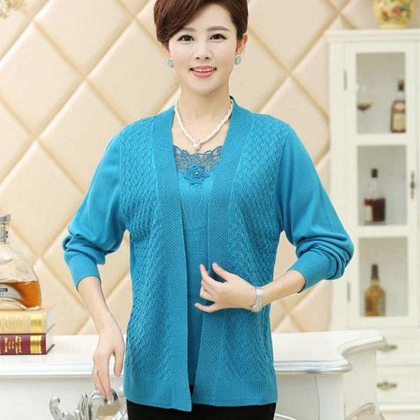 Rsslyn Aqua Blue Matching Set for Women Turquoise Blouse and Cardigan