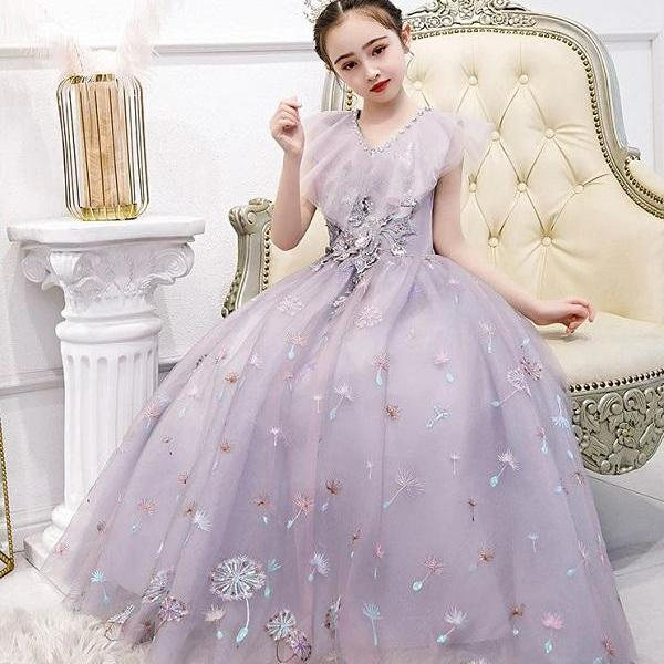 Rsslyn Embroidered Flowers Princess Dresses with Free Towering Tiara for Tween Girls Lavander Ballgown Dress