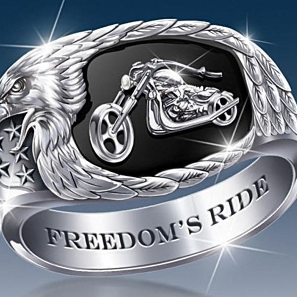 Rsslyn Stainless Steel Men's Rings Biker Motorbike Association FREEDOM RIDE Ring