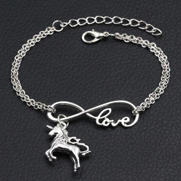 Rsslyn 2pcs/SET Matching Sets Unicorn Bracelets for Sisters Horse Bracelets