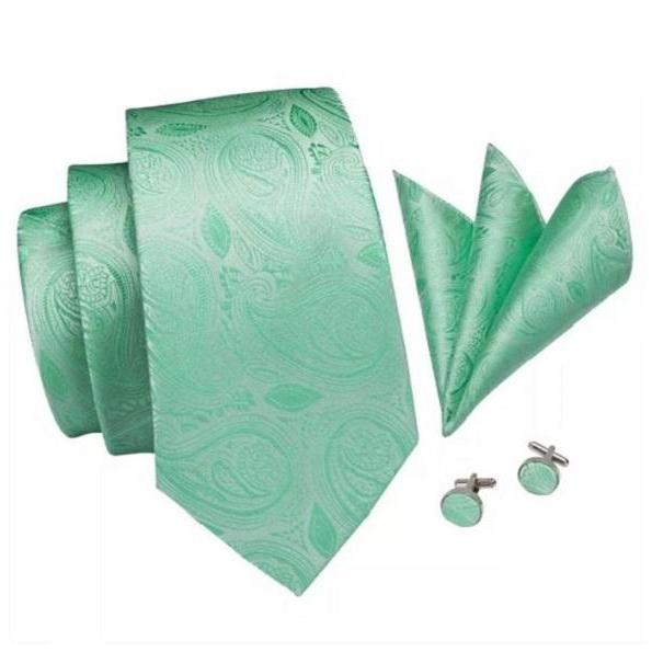 Rsslyn 3pcs/SET Mintgreen Necktie Paisley Pattern Cufflink Pocket Square Tie Set for Men