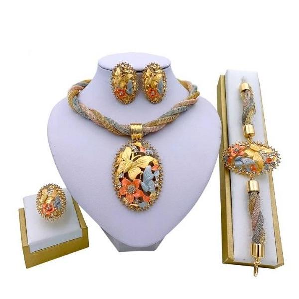 Rsslyn 4pcs/SET Nigerian Large Jewelries Choker Necklace Bracelet and Golden Earrings