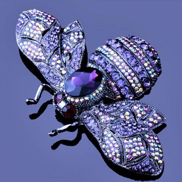 RSSLyn 10cm x 6.5cm Large Brooches Purple Bee Brooches