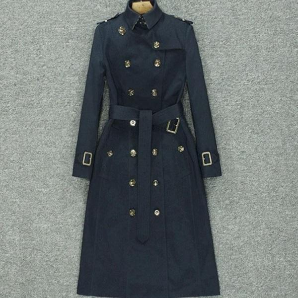 Rsslyn High-Graded Fashion European-American Navy Blue Plaid Trench Coats for Women