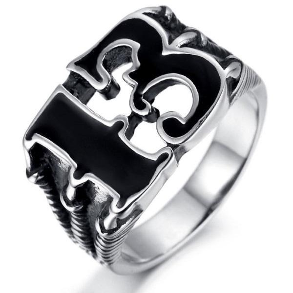 Rsslyn Fashion Rings Men's Lucky Number 13 Ring Sizes 6-13