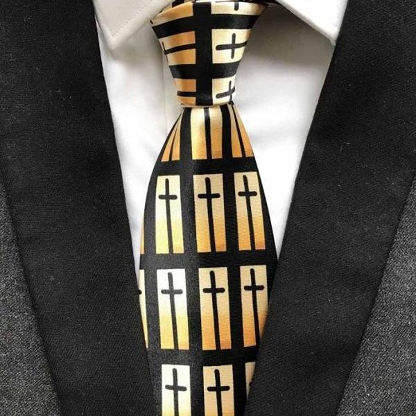 Rsslyn Religious Cross Neckties for Men